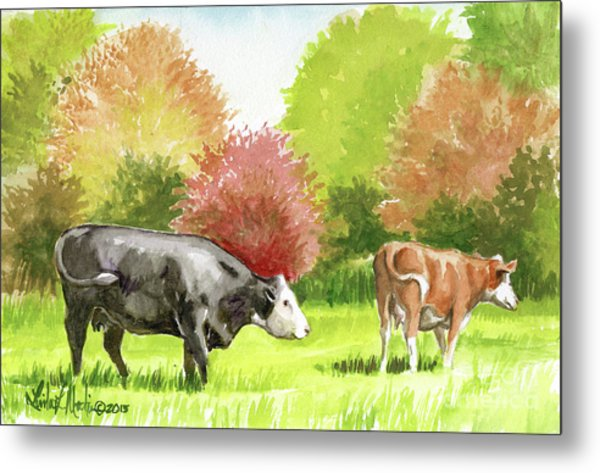 Metal Print featuring the painting Spring Morning Graze by Linda L Martin