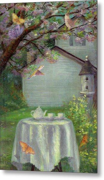 Spring Orchard Teatime Metal Print
