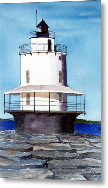 Spring Point Ledge Light Metal Print by Anne Trotter Hodge