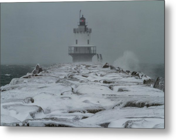 Spring Point Ledge Light Blizzard  Metal Print