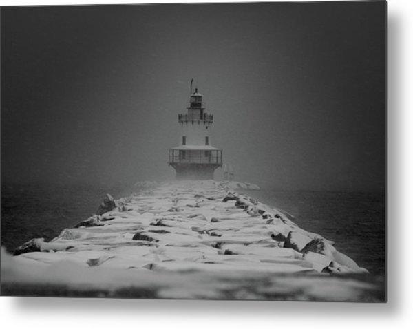 Spring Point Ledge Lighthouse Blizzard In Black N White Metal Print