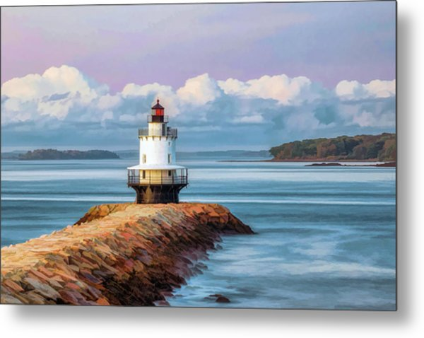 Metal Print featuring the painting Spring Point Ledge Lighthouse by Christopher Arndt