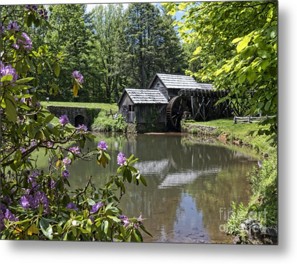 Spring Reflections Of An Ancient Mill Metal Print