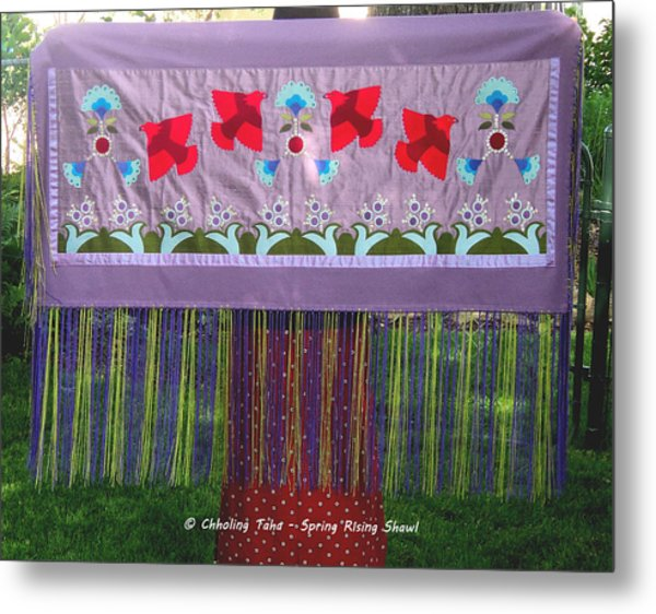 Metal Print featuring the tapestry - textile Spring Rising by Chholing Taha