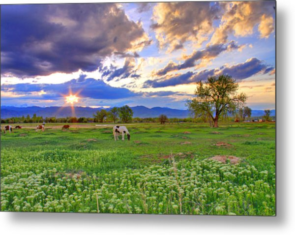 Spring Sunset Over The Rockies Metal Print