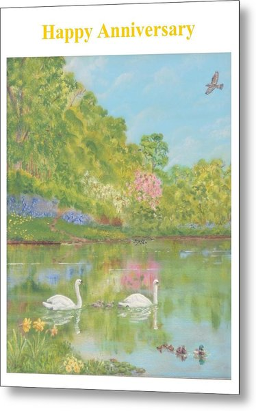 Spring Swans Anniversary Card Metal Print by David Capon