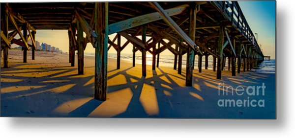 Springmaid Pier At Sunrise Metal Print