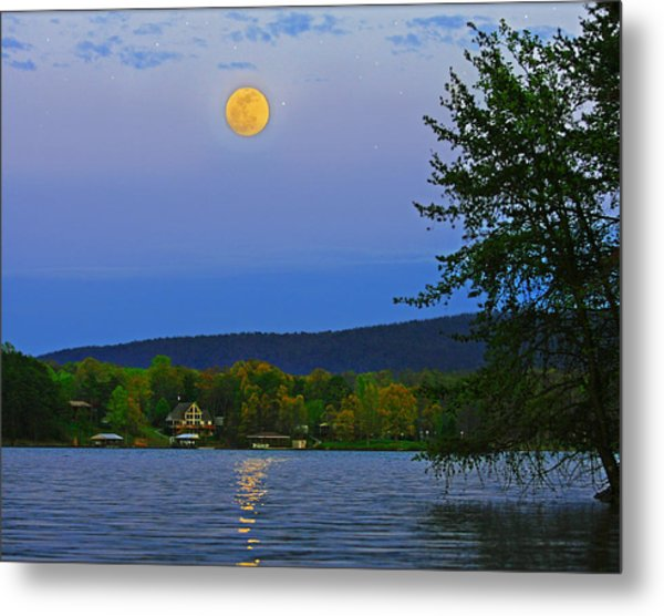 Spring's First Full Moon Smith Mountain Lake Metal Print