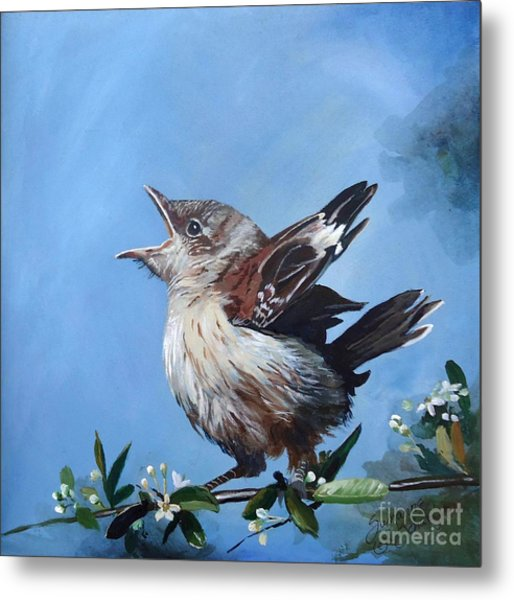 Spring's Promise - Mockingbird Baby Metal Print