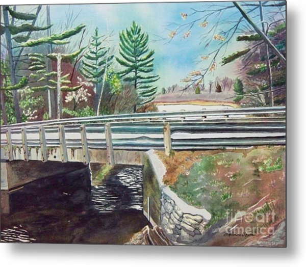Springtime At Bass Lake Bridge Metal Print