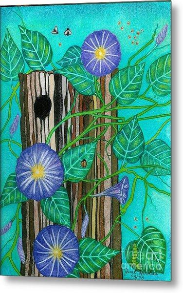 Springtime Purple Morning Glories Metal Print by Janet Hinshaw
