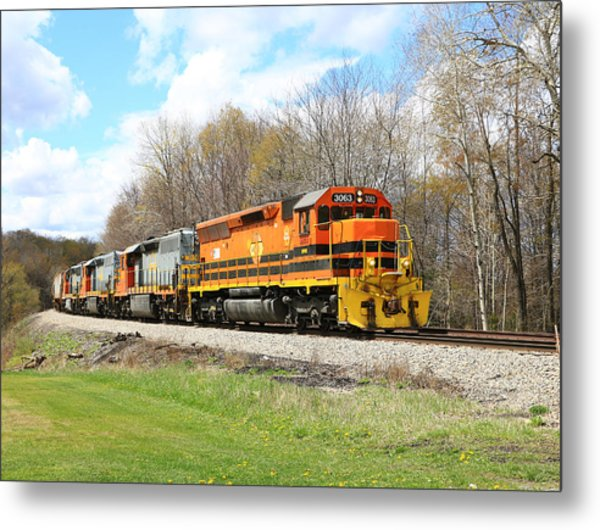 Springtime Train Metal Print