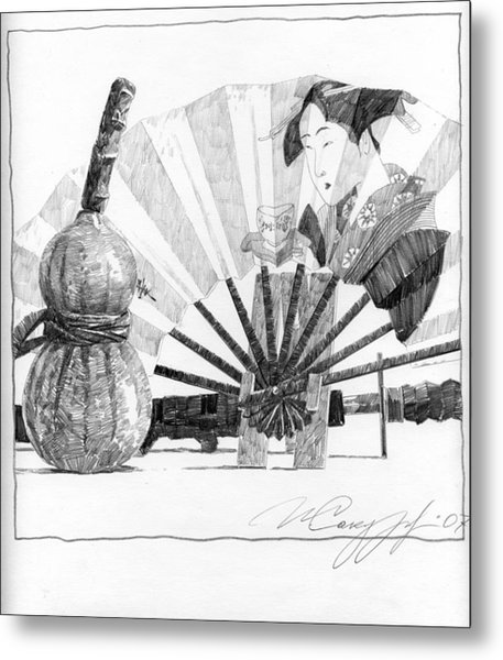 Spirit Of Japan. Pumpkin Jar And Fan Metal Print
