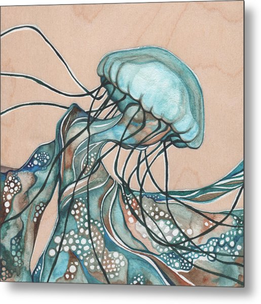 Square Lucid Jellyfish On Wood Metal Print