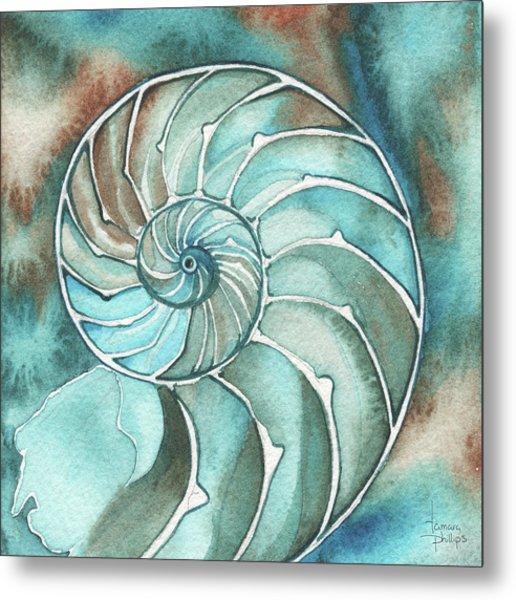 Square Nautilus Metal Print