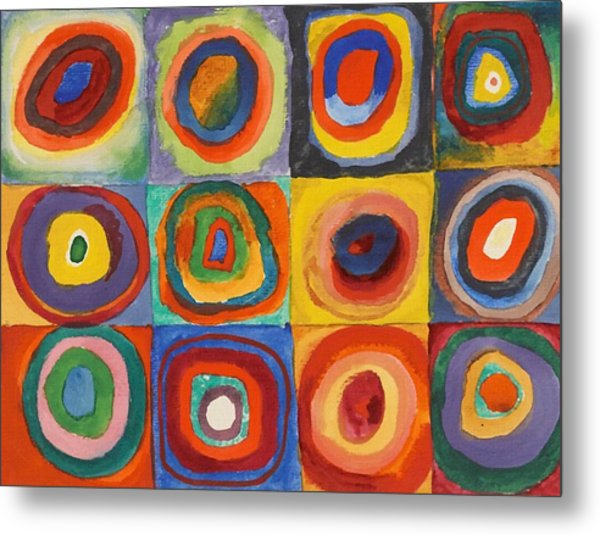 Squares With Concentric Circles Metal Print