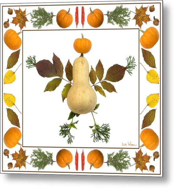 Squash With Pumpkin Head Metal Print