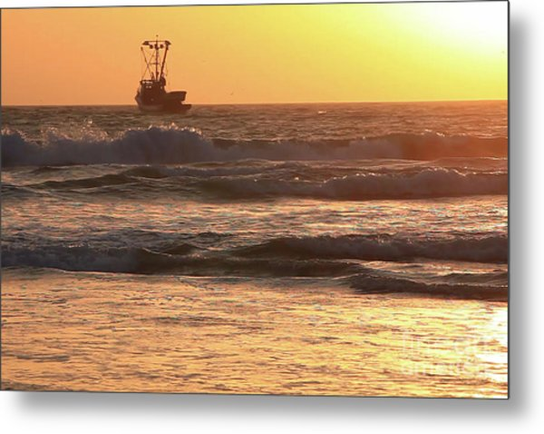 Squid Boat Golden Sunset Metal Print