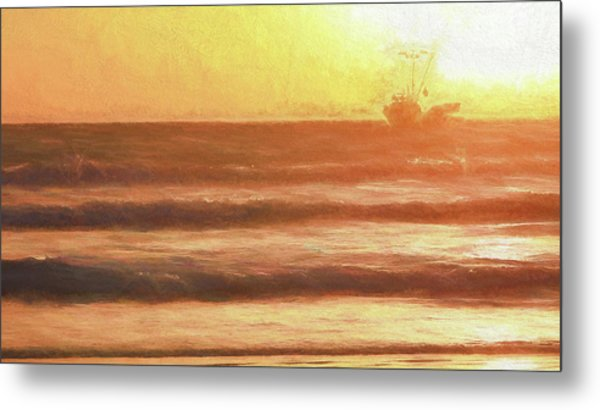 Squid Boat Sunset Metal Print
