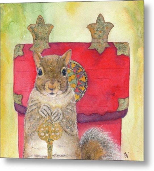 Squirrel Secret Metal Print