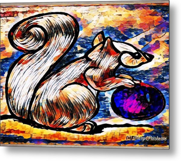Squirrel With Christmas Ornament Metal Print