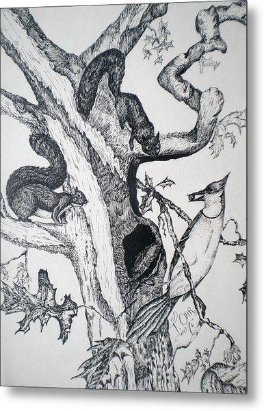 Squirrels And Bird Metal Print by Tammera Malicki-Wong