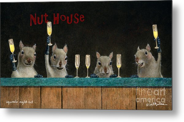 Squirrel's Night Out... Metal Print