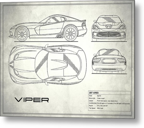 Srt Viper Blueprint Metal Print