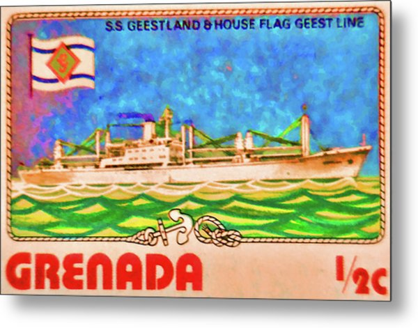 S.s Geestland And House Flag Geest Line Metal Print