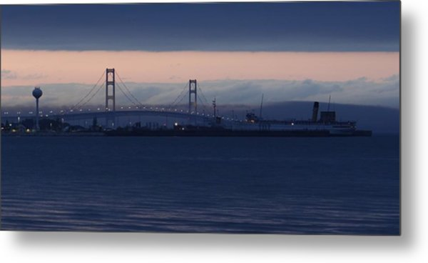 Ss Keewatin And Mackinac Bridge Metal Print