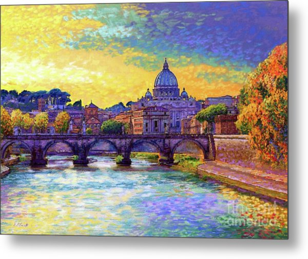 St Angelo Bridge Ponte St Angelo Rome Metal Print