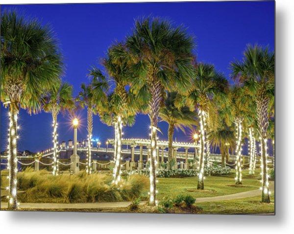 St. Augustine Bayfront Park During Nights Of Lights Metal Print
