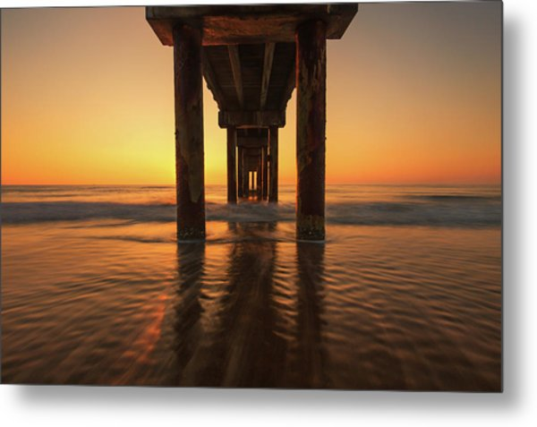 St Augustine Beach Pier Morning Light Metal Print