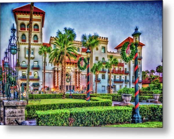 St. Augustine Downtown Christmas Metal Print
