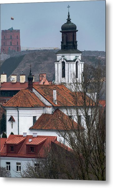 St Bartholomew And Vilnius Castle Metal Print