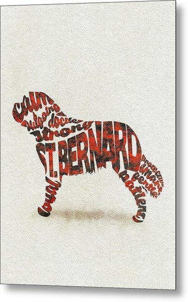St. Bernard Dog Watercolor Painting / Typographic Art Metal Print