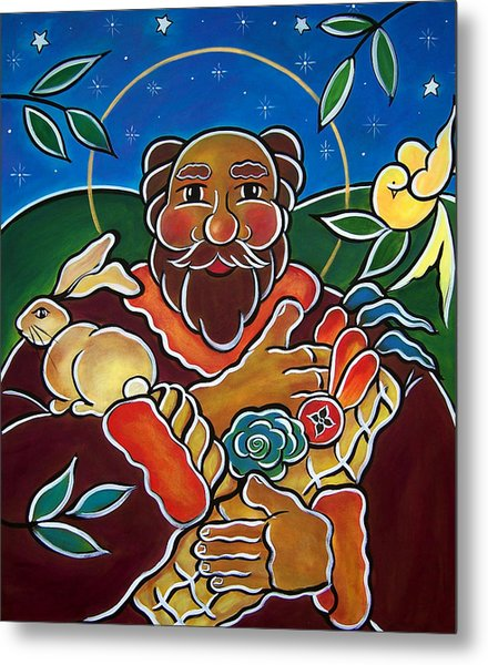 Metal Print featuring the painting St. Fiacre - Patron Of Gardeners by Jan Oliver-Schultz