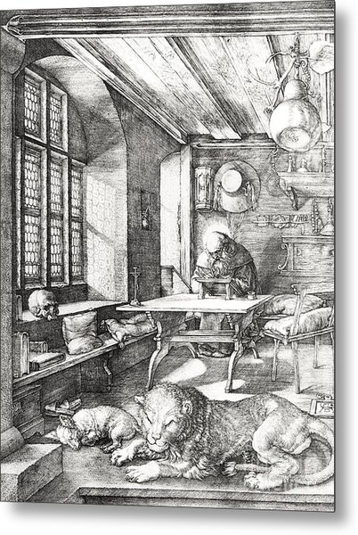 St Jerome In His Study Metal Print