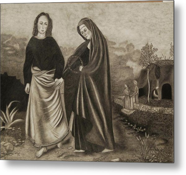St. John And Blessed Mother At The Tomb Metal Print