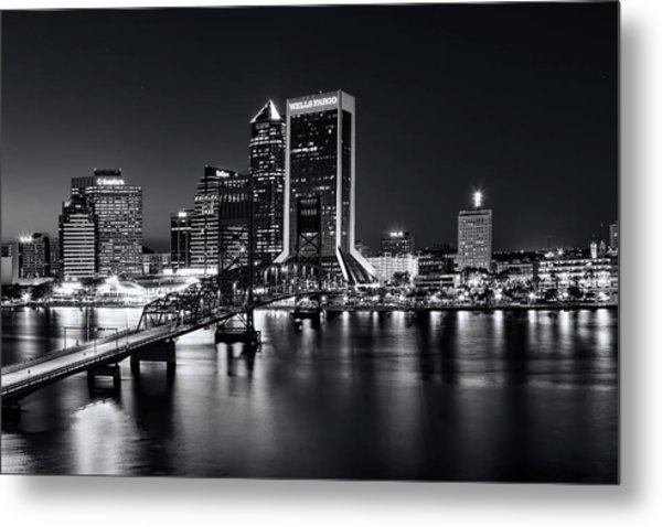 St Johns River Skyline By Night, Jacksonville, Florida In Black And White Metal Print