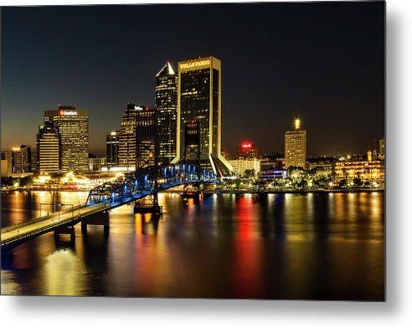 St Johns River Skyline By Night, Jacksonville, Florida Metal Print