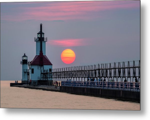 Metal Print featuring the photograph St. Joseph Lighthouse At Sunset by Adam Romanowicz