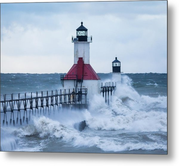 St. Joseph Lighthouse With Waves Metal Print