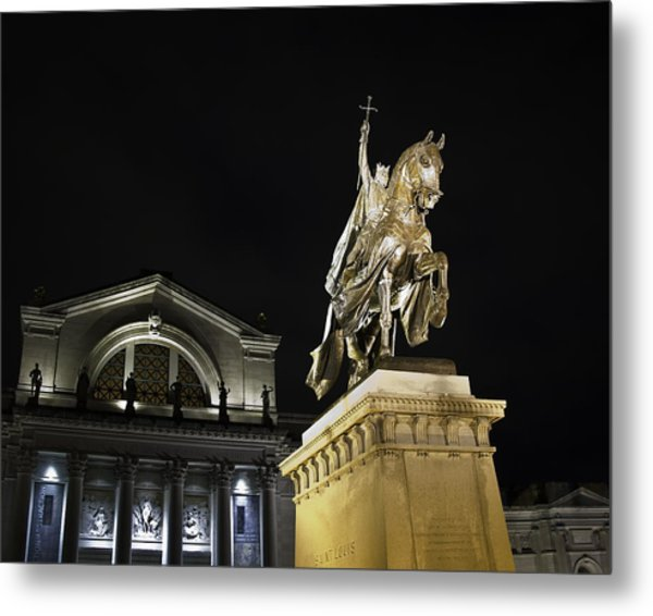 St Louis Art Museum With Statue Of Saint Louis At Night Metal Print