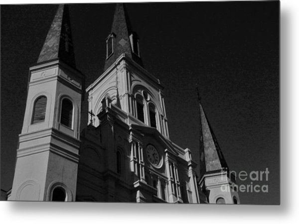 St. Louis Cathedral In Black And White Metal Print by John Giardina