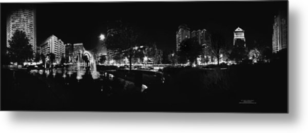St. Louis City Garden Night Bw For Glass Metal Print
