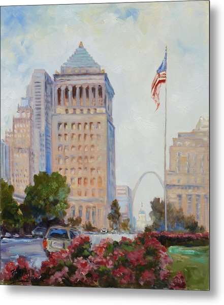 St. Louis Civil Court Building And Market Street Metal Print
