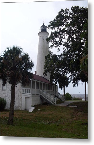 St. Marks Lighthouse Before The Rain Metal Print by Warren Thompson