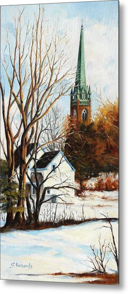 St Michael's Spire In Winter Metal Print by Cathleen Richards-Green