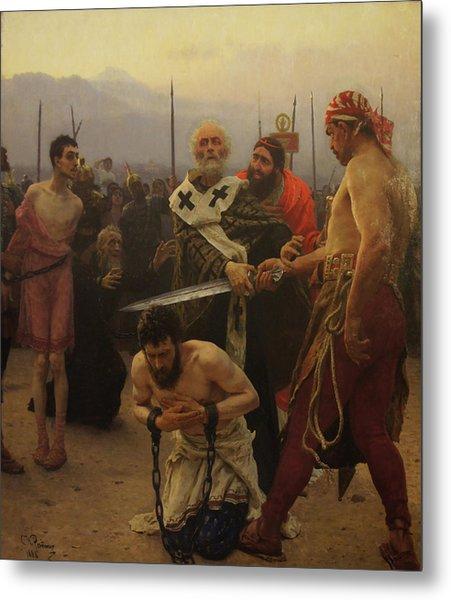 St. Nicholas Saves Three Innocents From Death Metal Print by Ilya Repin